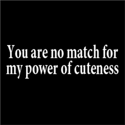You are no match for my power of cuteness