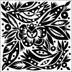 Black/White Papercut Lovebirds Wedding