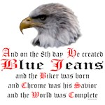 Biker Blue Jeans Eagle Prayer