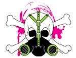 Skull & Crossbones with Green Gas Mask