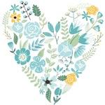 Aqua Floral Heart