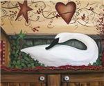 Primitive Swan Folk Art