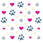 Paw Prints and Hearts Design