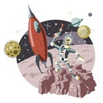 Spaceman and Retro Rocket