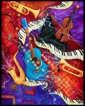 Colorful Musical Instruments Jazz Piano Art Jazz S