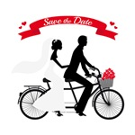 Wedding, bride and groom on bicycle
