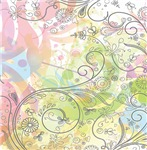 Pretty Pink and Green Abstract Flourish
