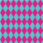 Pink On Turquoise Diamond Shapes Pattern