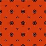 Orange and Black Little Flowers Pattern