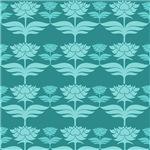 Turquoise Art Nouveau Flower Pattern