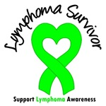 Lymphoma Survivor Heart Ribbon T-Shirts & Gifts