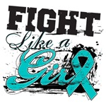 Fight Like a Girl Spatter Ovarian Cancer Shirts