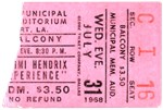 Jimi Hendrix Ticket Stub