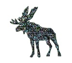 Moose Elk silhouette with color blobs
