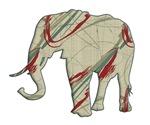 Elephant Silhouette swirls lines
