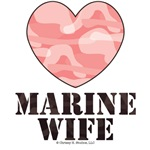 Marine Wife Brown Pink Camo Heart