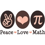 Cool and hip geek gifts for the math nerd and math geek you know and love. Peace Love Math with a peace symbol, heart and Pi symbol in pink and brown on apparel, school, home and office decor and much more. Cute math nerd, math teacher, mathlete and mathe