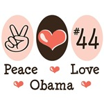 Peace Love 44 Obama T shirt Gifts
