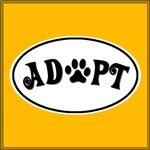 Adopt Paw White Oval
