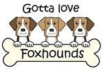 Three American Foxhounds (Breed Color Varieties)