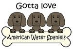 Three Liver American Water Spaniels