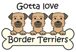 Three Grizzle and Tan Border Terriers