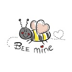 """Cute cartoon bee with heart-shaped wings is perfect for Valentine's Day or any day you want to give your love one a smile! Text reads """"Bee mine""""."""