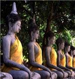 Row of Stone Budhas Meditating