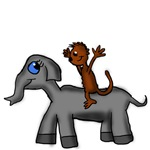 Monkey Riding Elephant