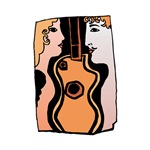 figures and guitar abstract graphic