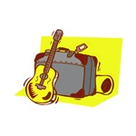 guitar leaning on suitcase yellow
