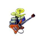 orange guitar blue drumset music design
