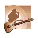 guitar singer brown music design