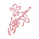 country cowboy musician red outline