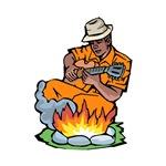 blues guitarist by fire orange