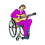 wheelchair purple shirt guitar