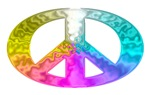 Oval PEACE Symbol, Rainbow Splash