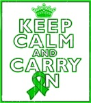 Kidney Cancer Keep Calm Carry On Green Ribbon Tees
