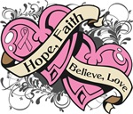 Breast Cancer Hope Faith Dual Hearts Shirts
