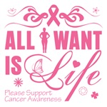 Breast Cancer All I Want Is Life Shirts & Gifts