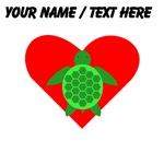 Custom Green Turtle Heart
