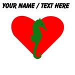 Custom Green Seahorse Heart