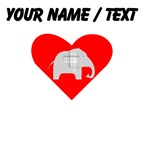 Custom Grey Plaid Elephant Heart