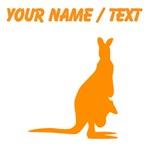 Custom Orange Kangaroo Silhouette