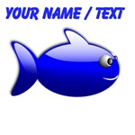 Custom Blue Fish Cartoon