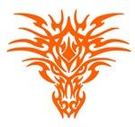 Orange Tattoo Dragon Face