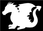 White Baby Dragon Silhouette