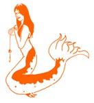 Orange Mermaid With Fishing Line