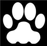 White Big Cat Paw Print