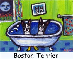 BOSTON TERRIER two in bath design
